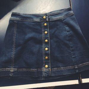 Free People Denim button up mini skirt
